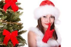 santa för hatt för julgranflicka tree Royaltyfri Fotografi