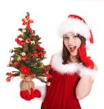 santa för julflickahatt liten tree Royaltyfri Bild