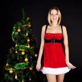 santa för julflickahatt tree Royaltyfri Fotografi