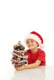santa för lycklig hatt för pojkejul liten tree Royaltyfri Foto