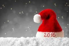 Santa för lyckligt nytt år hatt 2016 Fotografering för Bildbyråer