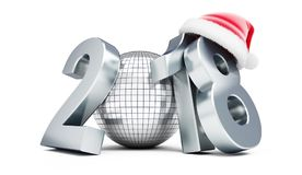 Santa för nytt år för diskoboll 2018 hatt på en vit illustration för bakgrund 3D, tolkning 3D Royaltyfri Foto