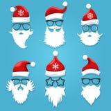 Santa face wearing. Christmas santa claus face clothes like hats, glasses and beards vector illustration vector illustration