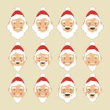 Santa Faces Set Stock Image