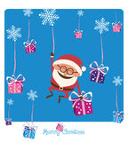 Santa Falling with Christmas Gifs Royalty Free Stock Image