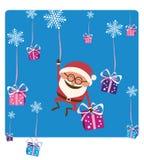 Santa Falling con il Natale Gifs Immagine Stock Libera da Diritti