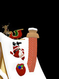 Santa Falling Down a Roof Royalty Free Stock Image