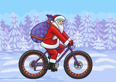 Santa on a fatbike. Royalty Free Stock Photography