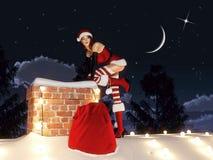Santa faz uma apresentação rendição 3d Fotos de Stock Royalty Free