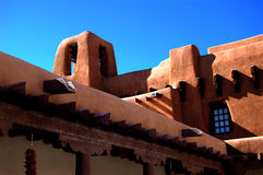 Santa Fe Adobe Style. Detail of a adobe public building in Santa Fe constructed in the Pueblo style Stock Photos
