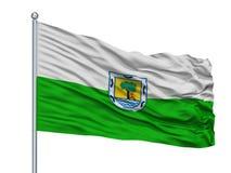 Santa Fe De Antioquia City Flag no mastro de bandeira, Colômbia, departamento de Antioquia, isolado no fundo branco Ilustração Royalty Free