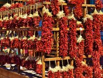 SANTA FE HANGING CHILI PEPPERS DISPLAY Royalty Free Stock Photo