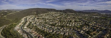 Santa Fe Hills - San Marcos. This is an aerial panoramic capture of Santa Fe Hills in San Marcos, California, USA stock image