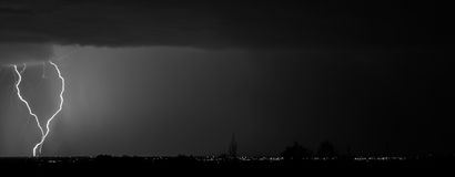 Santa Fe Lightning B&W Photo stock