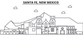 Santa Fe, linea illustrazione di architettura del New Mexico dell'orizzonte Paesaggio urbano lineare con i punti di riferimento f illustrazione di stock