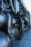 Santa Fe locomotive 5021 at Sacramento railroad museum. Detail of the black painted locomotive engine known as Santa Fe 5021 at California State Railroad Museum stock photos