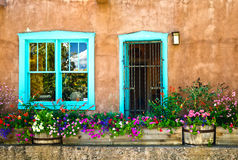 Santa Fe NM fönster och dörr Fotografering för Bildbyråer