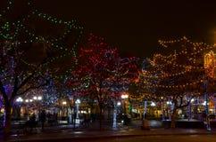 Santa Fe Plaza Christmas Lights fotos de stock