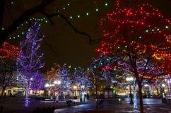 Santa Fe Plaza Christmas Lights fotografia de stock royalty free