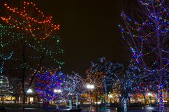 Santa Fe Plaza Christmas Lights Arkivfoto