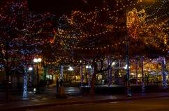 Santa Fe Plaza Christmas Lights imagens de stock