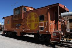 Santa Fe Railroad Caboose Car Stock Foto