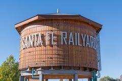Santa Fe Railyard Water Tower lizenzfreie stockfotos
