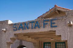 Santa Fe Sign Royaltyfri Fotografi