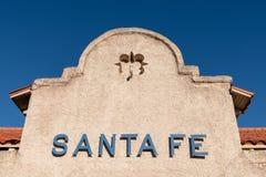 Santa Fe sign on the historic Santa Fe Railway train depot in Santa Fe, New Mexico stock images