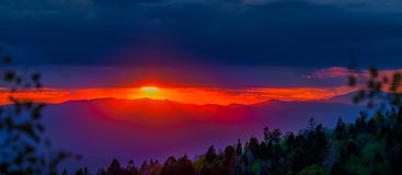 Santa Fe Ski Basin Sunset Panorama Stock Photo
