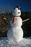 Santa Fe Snowman. A late winter snowstorm in the Sangre de Christo mountains provides enough powder to build a final season snowman stock photos