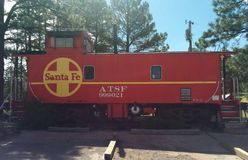 Santa Fe train car converted to motel room stock images