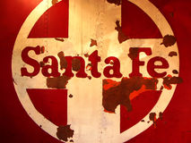 Santa Fe Train Logo. Close-up of a vintage abandoned railcar with the logo of the Santa Fe Railroad Royalty Free Stock Images