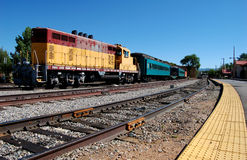 The Santa Fe Train Station. Trains parked on the tracks at the Santa Fe Train Station Stock Images