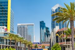 Santa Fe train station and San Diego skyline, CA.  royalty free stock photo