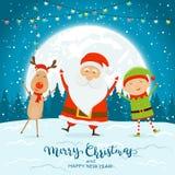 Santa felice con Elf e cervi sul fondo blu di Natale immagine stock