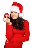 Santa feliz com o bauble vermelho do Natal Fotos de Stock