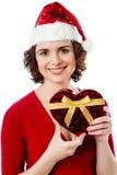 Santa femelle avec le cadeau de Noël Images libres de droits