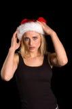 Santa femelle blonde sexy Images libres de droits