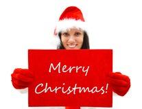 Santa femelle souhaitant le Joyeux Noël Photographie stock libre de droits