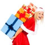 Santa femenino de risa con los regalos de la Navidad Foto de archivo