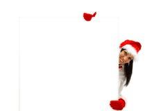 Santa femminile con il tabellone per le affissioni immagine stock