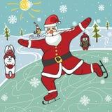 Santa  figure skating.Humorous illustrations. Christmas,New year Illustration,card. Santa Claus figure skating. Near hare and owl,forest landscape.Trendy flat Stock Image