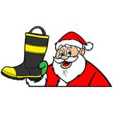 Santa with Fireman Boot Stock Images