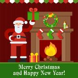 Santa and fireplace. Santa Claus near fireplace. Gifts of Santa Claus. Flat vector cartoon illustration. Objects isolated on a white background Stock Image