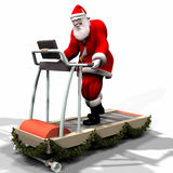 Santa Fitness 1. Santa Working Out on a Treadmill. Getting ready for his flight. Bah Humbug Series stock illustration