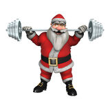 Santa Fitness. 3D digital render of Santa exercising with weights isolated on white background Stock Photo