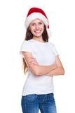 Santa flicka i vitt posera för t-shirt Arkivbilder