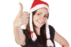 Santa flicka som visar hand det ok tecknet Royaltyfri Bild