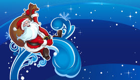 Santa flies on holiday horizont Stock Photos